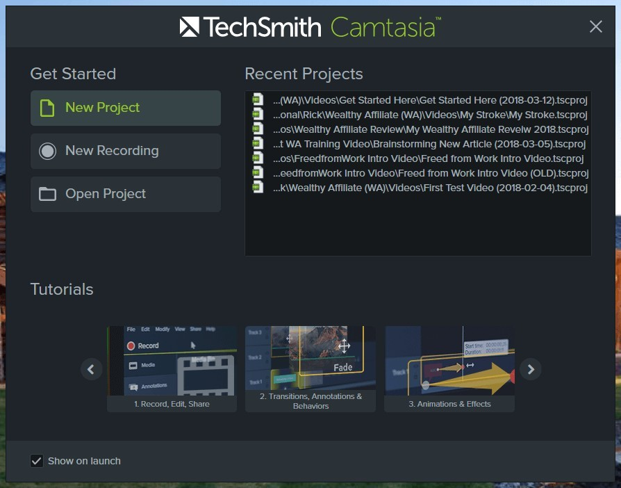 Camtasia new project window