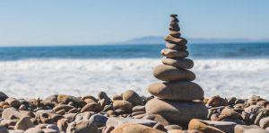 Balanced rocks at the beach