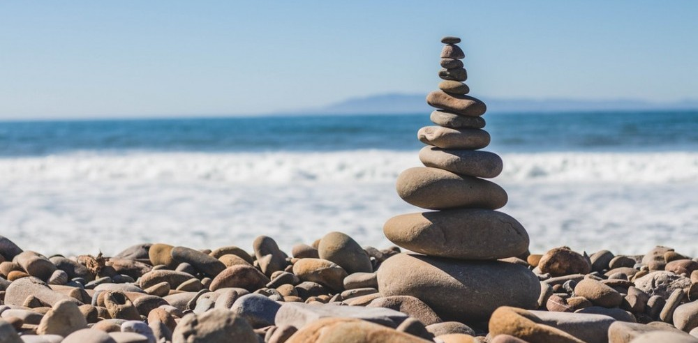 Balanced rocks at the beach